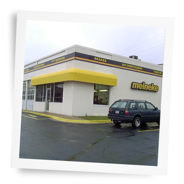 Exterior shot of older Meineke car care center